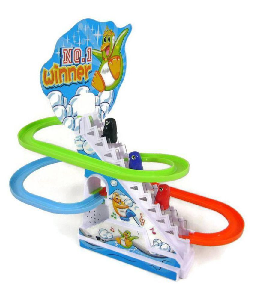 Funny Penguin Race Track Twinkling Lights & Music Battery Operated Toy (Multicolor)