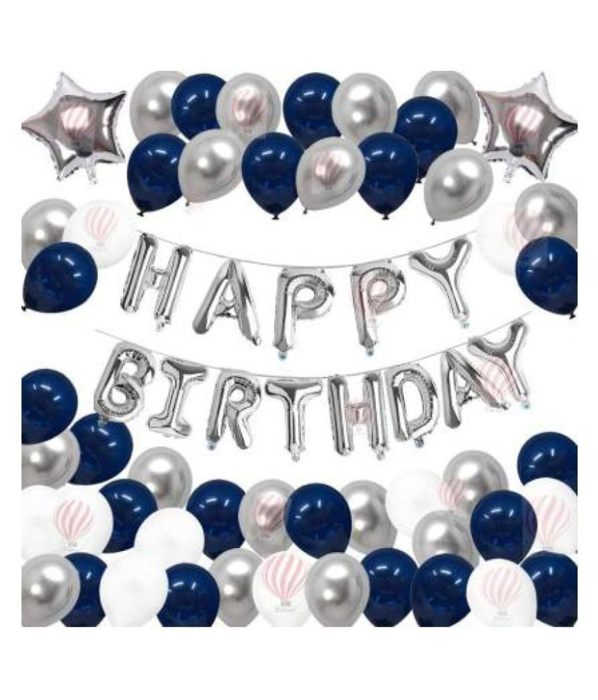 Solid Happy Birthday Silver Blue White Balloon White Silver Blue Pack Of 65 Buy Solid Happy Birthday Silver Blue White Balloon White Silver Blue Pack Of 65