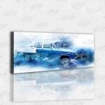 Chevrolet Klasik Mavi Araba Kanvas Tablo