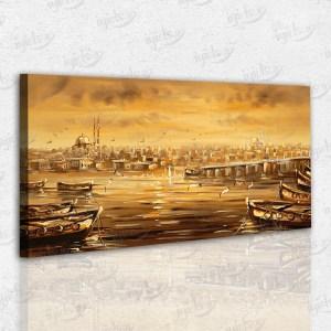 Eski İstanbul Kayık Temalı Kanvas Tablo