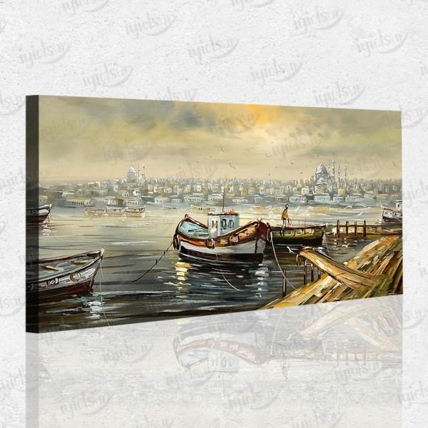 Eski İstanbul Kayık Manzara Kanvas Tablo