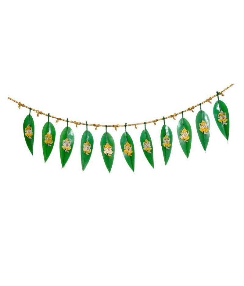 Elite Handicrafts Auious Mango Leaf Toran With Ganesha Motif For Diwali Decoration