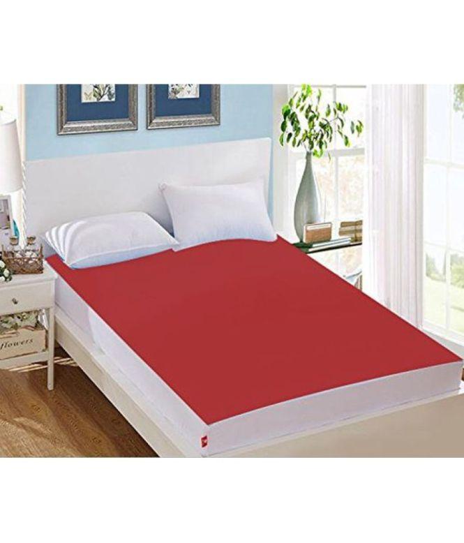 Avi Waterproof And Dustproof Single Bed Ed Maroon Cotton Mattress Protector