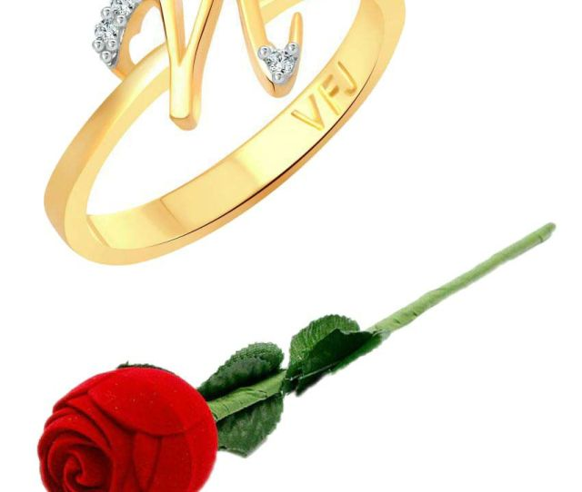 Vighnaharta Initial N Letter With Rose Cz Gold And Rhodium Plated Alloy