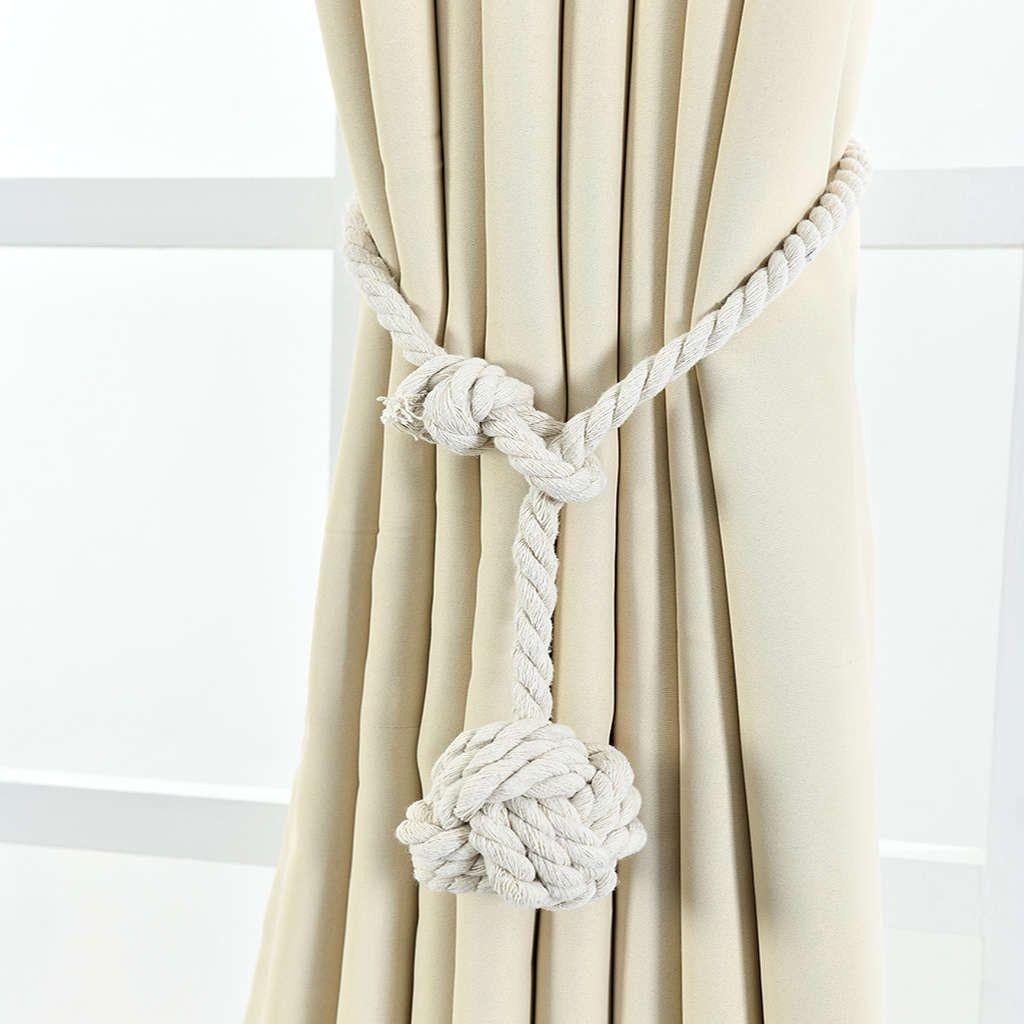 2pcs Magnetic Curtain Hooks Rope Buckle Tie Backs Holdbacks