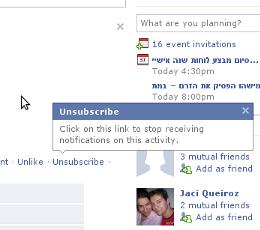כפתור ה unsubscribe של פייסבוק