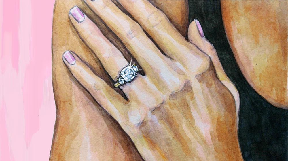 Meghan Markle Illustration of Three Stone Diamond Engagement Ring