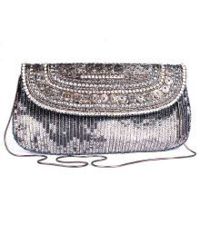 Favola Smart Gunmetal Sequins Embellished Clutch