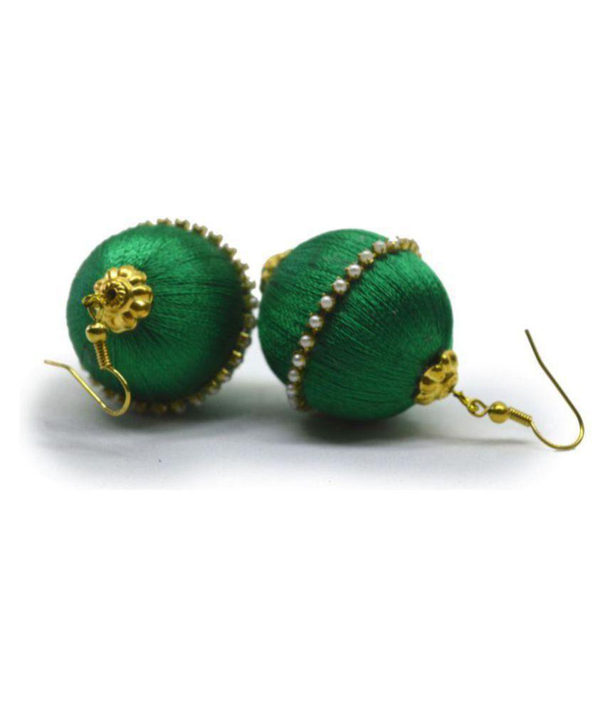 DarkLady Silk Thread Jhumka Drop Earring Yellow Glossy