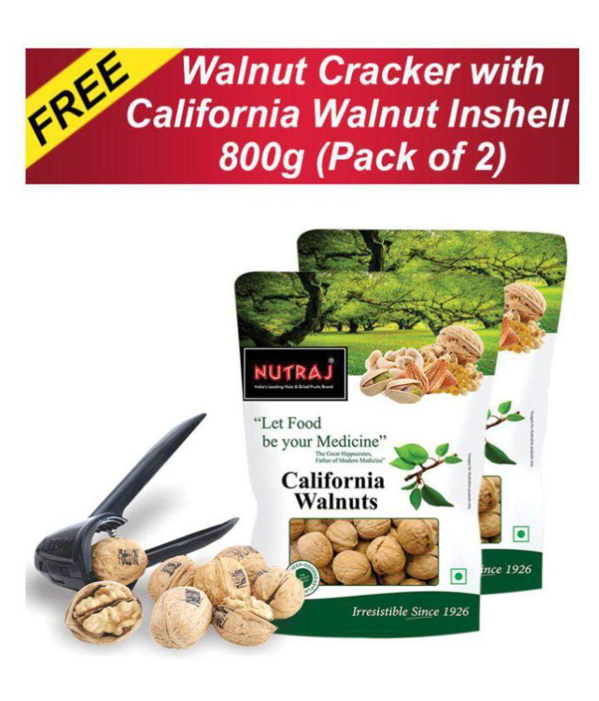 Nutraj California Walnut In Shell 800 g (Pack of 2) with FREE Nut Cracker