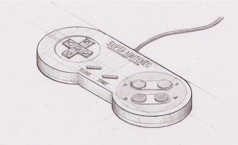 Boceto del mando de SNES
