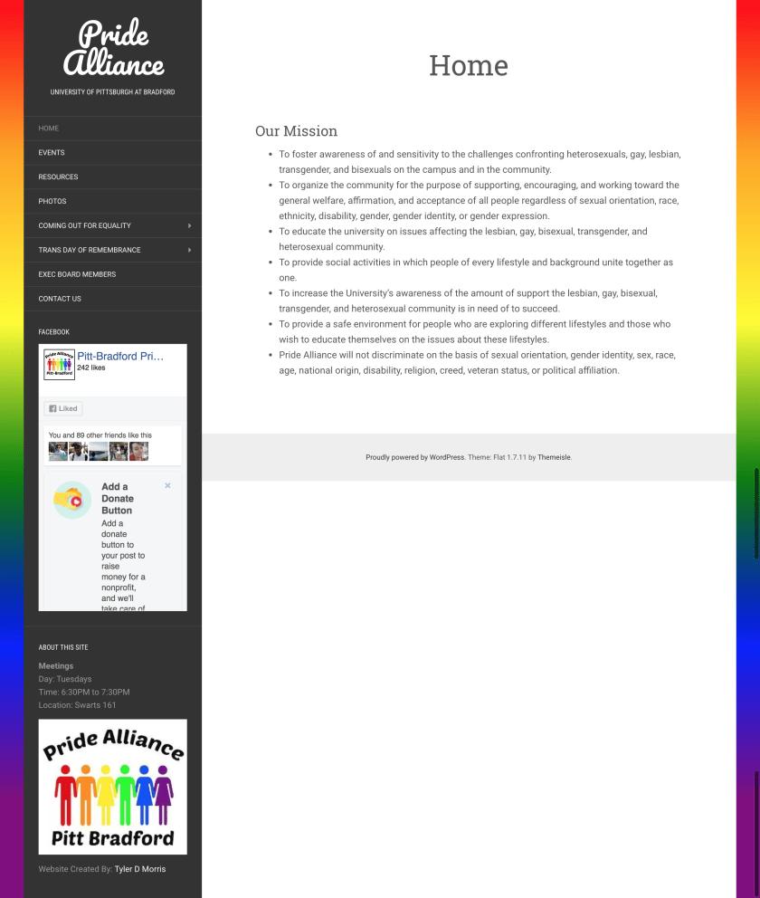 Pitt-Bradford Pride Alliance Website