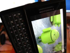 A Motorola Milestone phone.