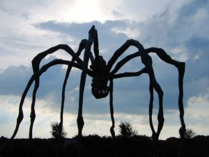 The Mother huge spider statue contrasting against the sky.