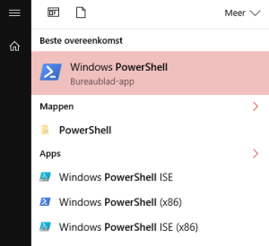 Windows search results for Powershell shows all versions available of the PS shell.