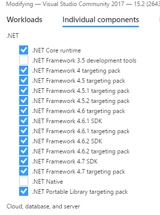Look at all those .NET targeting packs.