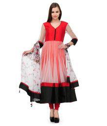 Aujjessa White Embroidered Net Stitched Anarkali  Salwar Suit