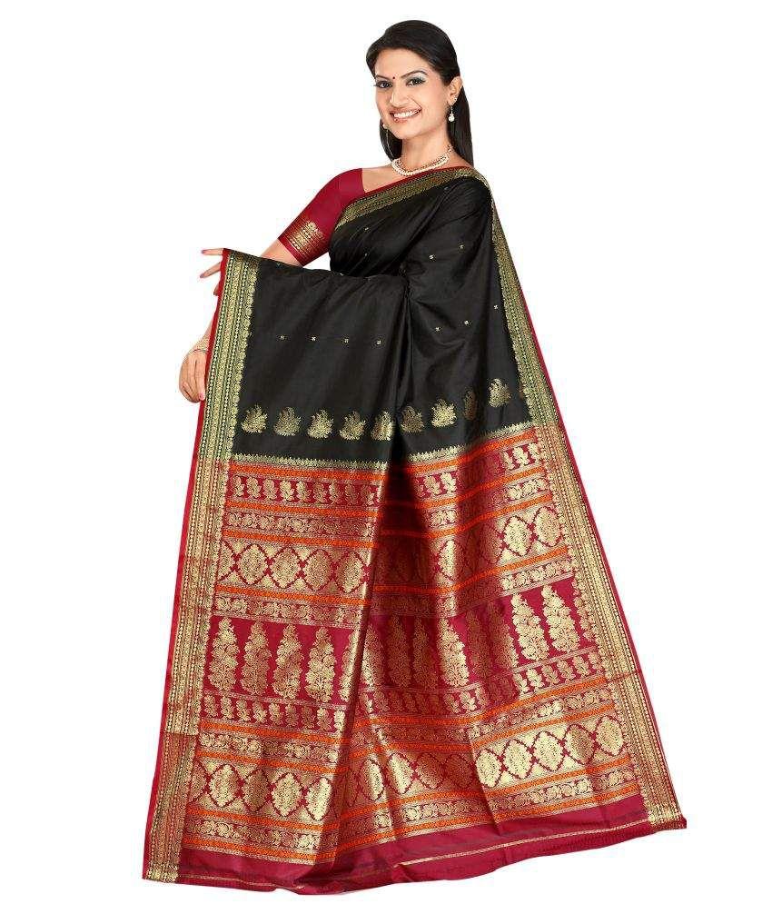 Triveni Multi Color Art Silk Saree Buy Triveni Multi