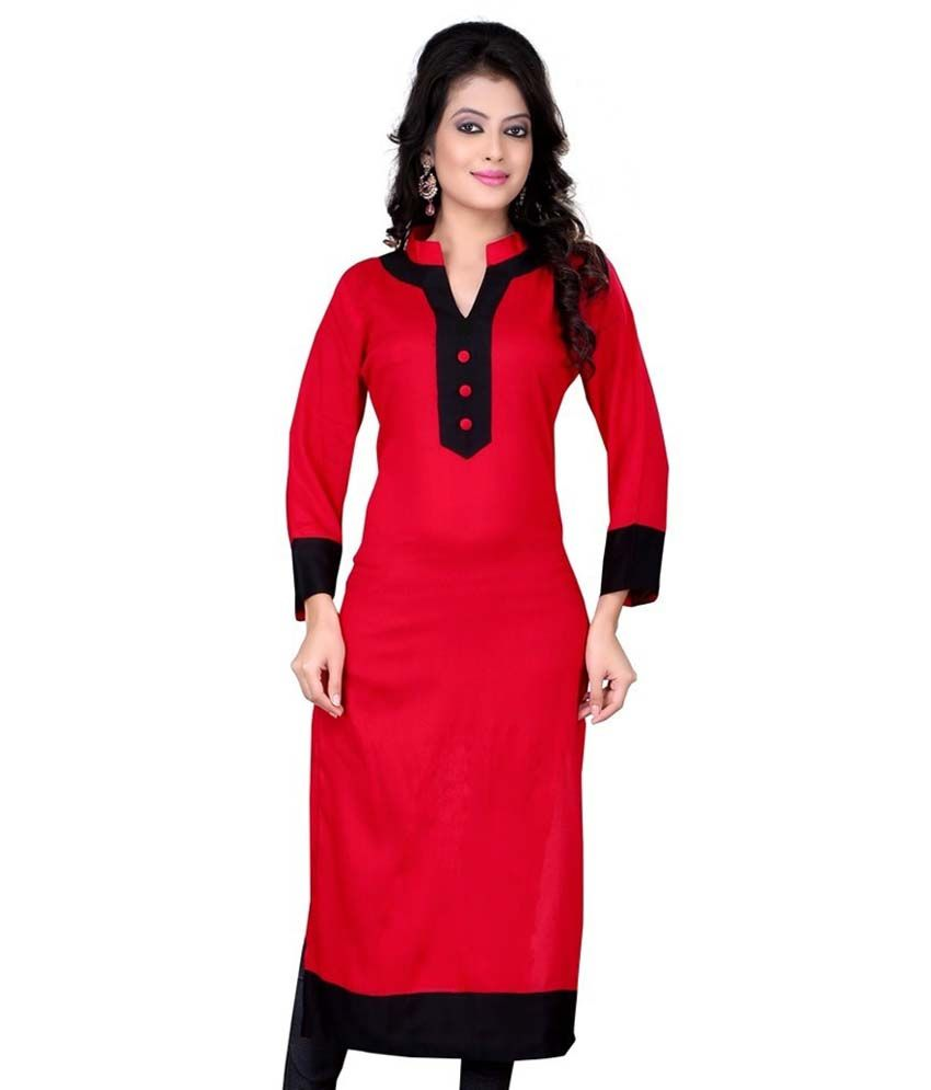 Unique Fashion Art Red Cotton A   line Kurti  Questions and Answers     Unique Fashion Art Red Cotton A   line Kurti
