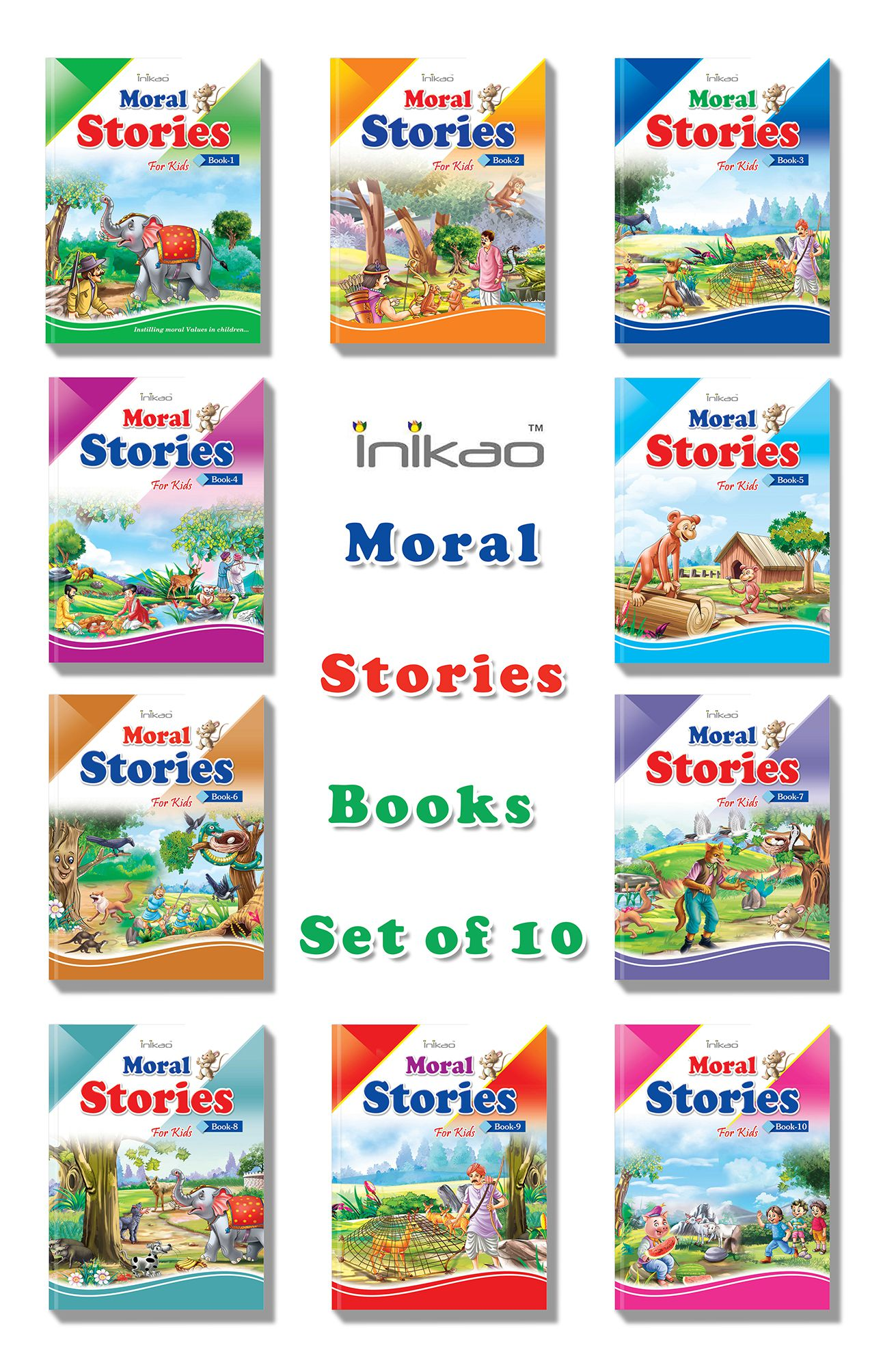 Story Books Set Of 10 In English With 101 Moral Stories