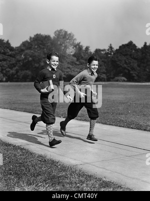1930s 1940s TWO TEEN BOYS ONE GIRL DRESSED UP WALKING DOWN