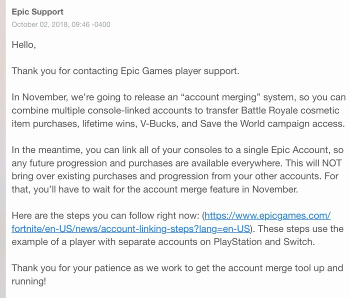 Fortnite Epic Games Email