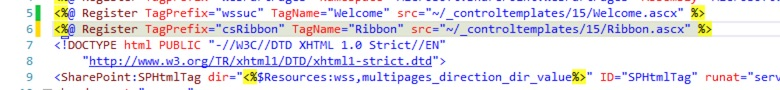 Registration of ribbon control in header