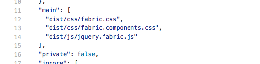Main section of bower.json of Office UI Fabric