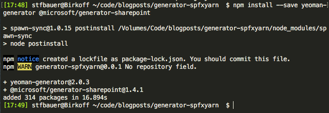 Add additional npm packages for the generator