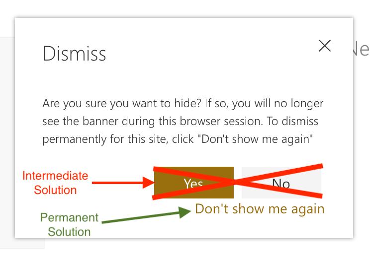 Dismiss Teams information