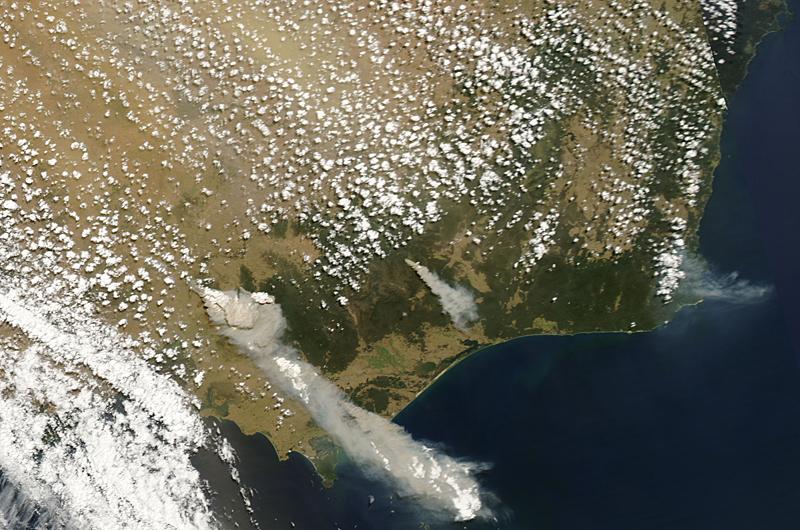 Снимок восточной части штата Виктория со спутника MODIS Aqua