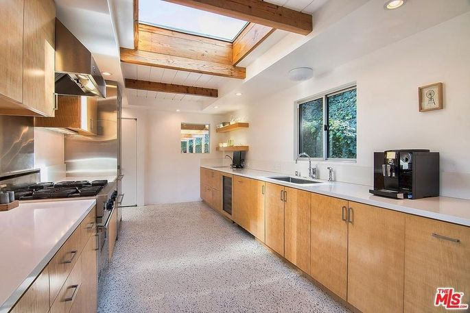 Galley kitchen with skylight and terrazzo floor