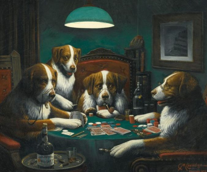 """""""Dogs Playing Poker,"""" by Cassius Marcellus Coolidge"""
