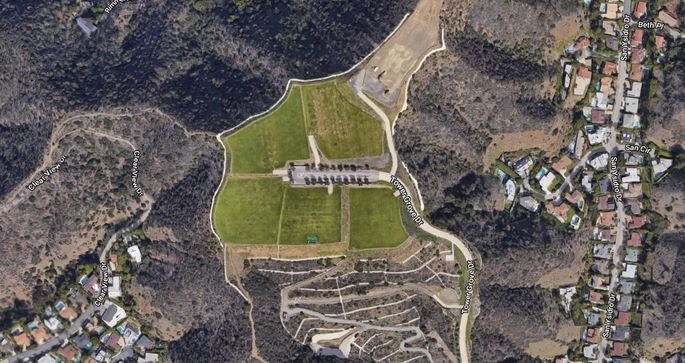 """Satellite view of the """"Mountain of Beverly Hills"""""""