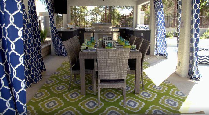 Drew's outdoor kitchen had everything needed for the perfect outdoor dinner party.