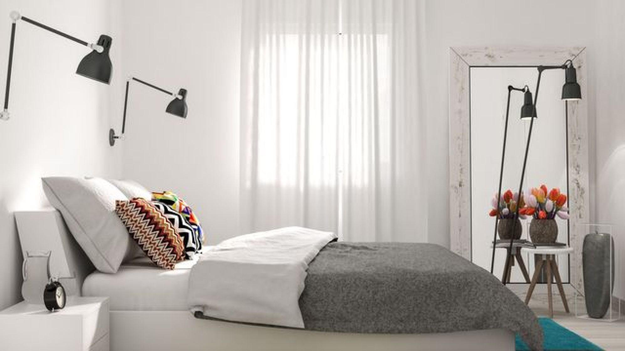 Removing heavy drapes will lighten the mood in the room.