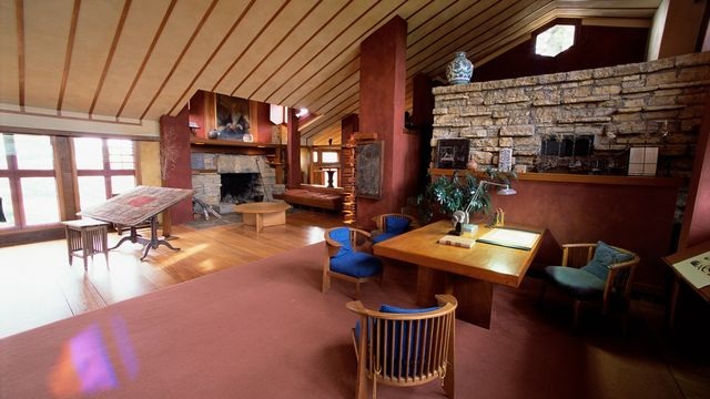 Drafting studio is located in the main house area of the Taliesin, with furniture Wright designed.