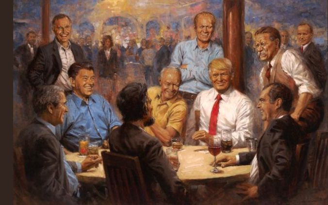 """President Donald Trump displayed a painting titled """"The Republican Club"""" in the White House Oval Office."""