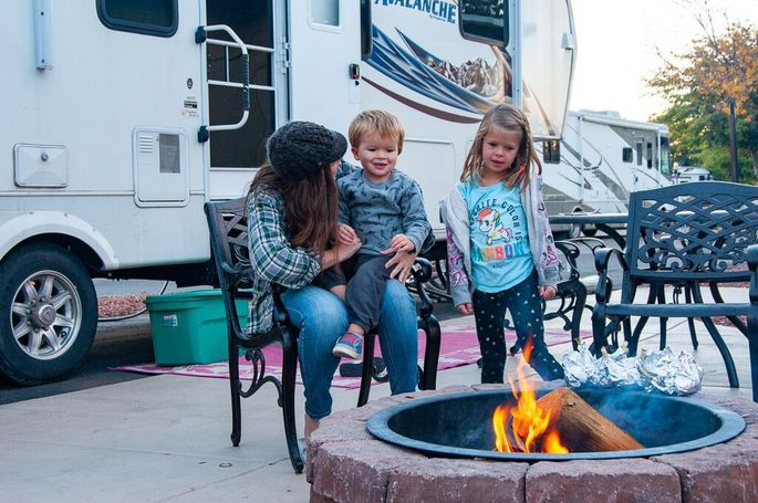 Hilarye Fuller and her children by their RV