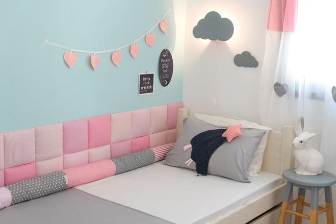 Customize soft cotton squares for a wall display or headboard.