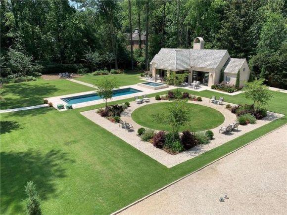 Backyard with pools