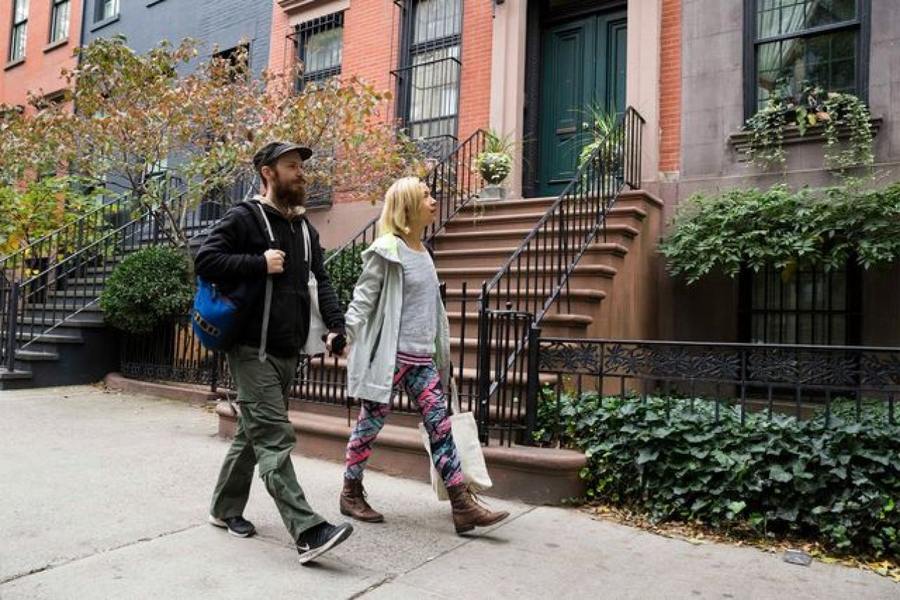Sandy Patch and Jennifer Liepin on the street in Chelsea.