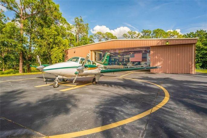 Hangar and plane