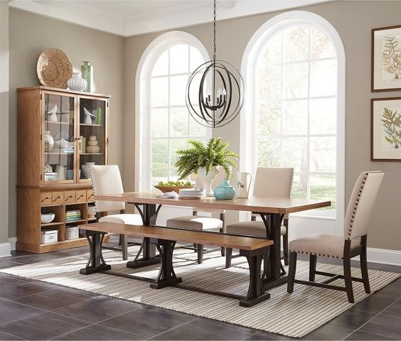 Modern French farmhouse inspired dining table