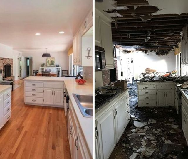 Our Kitchen Before And After The Fire