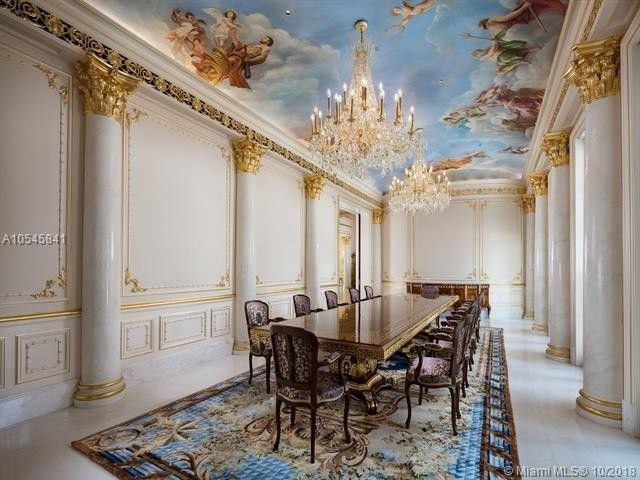 Dining room with painted ceiling