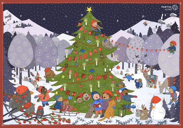 Partiolaisten adventtikalentereita ja joulukortteja