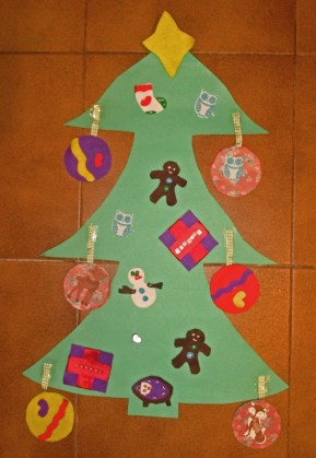 Cardboard and felt Christmas tree