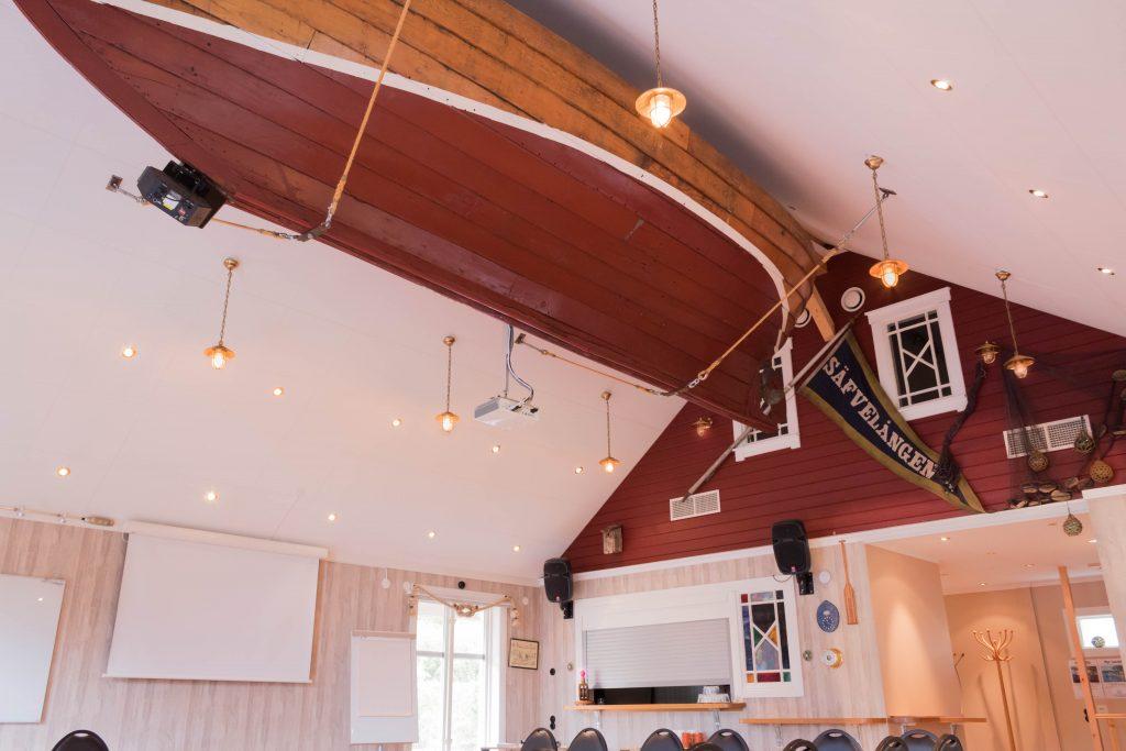 Båten i taket i Båthuset - Sjölyckan