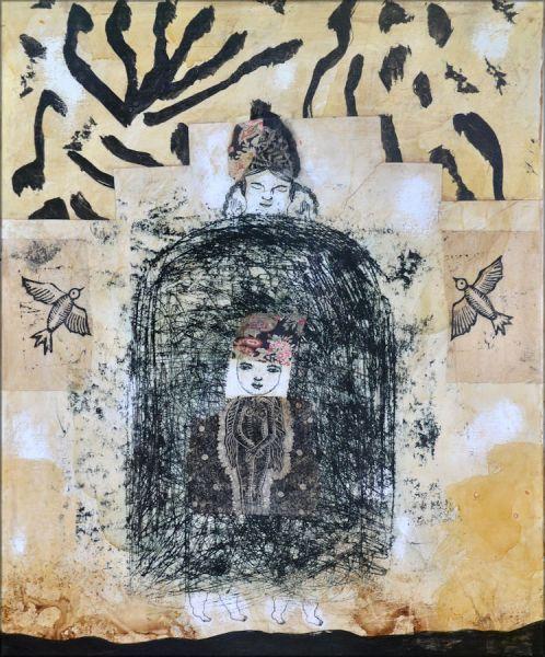 art singulier collage peinture oiseaux nabarus